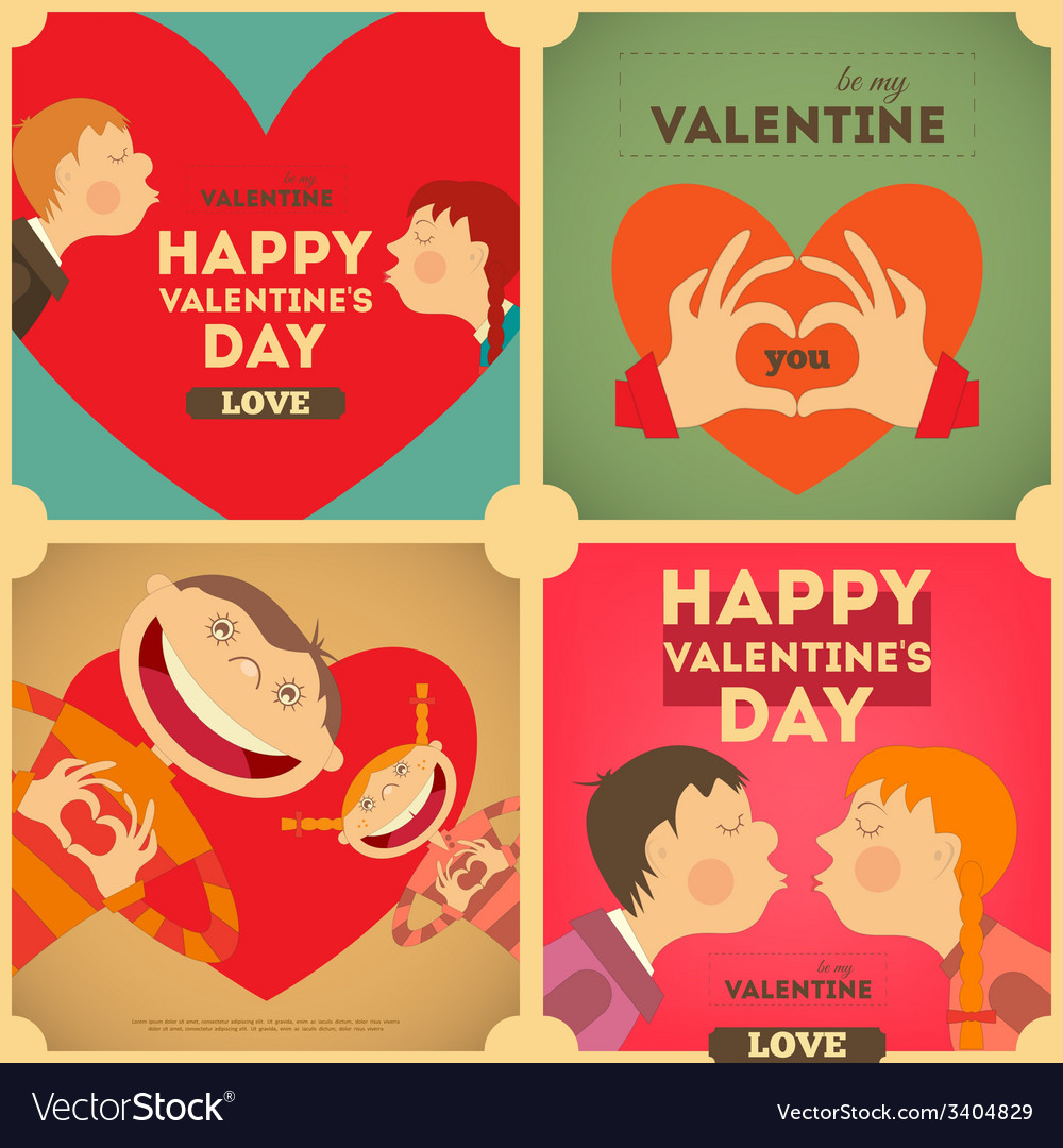 Valentines day posters set vector | Price: 1 Credit (USD $1)