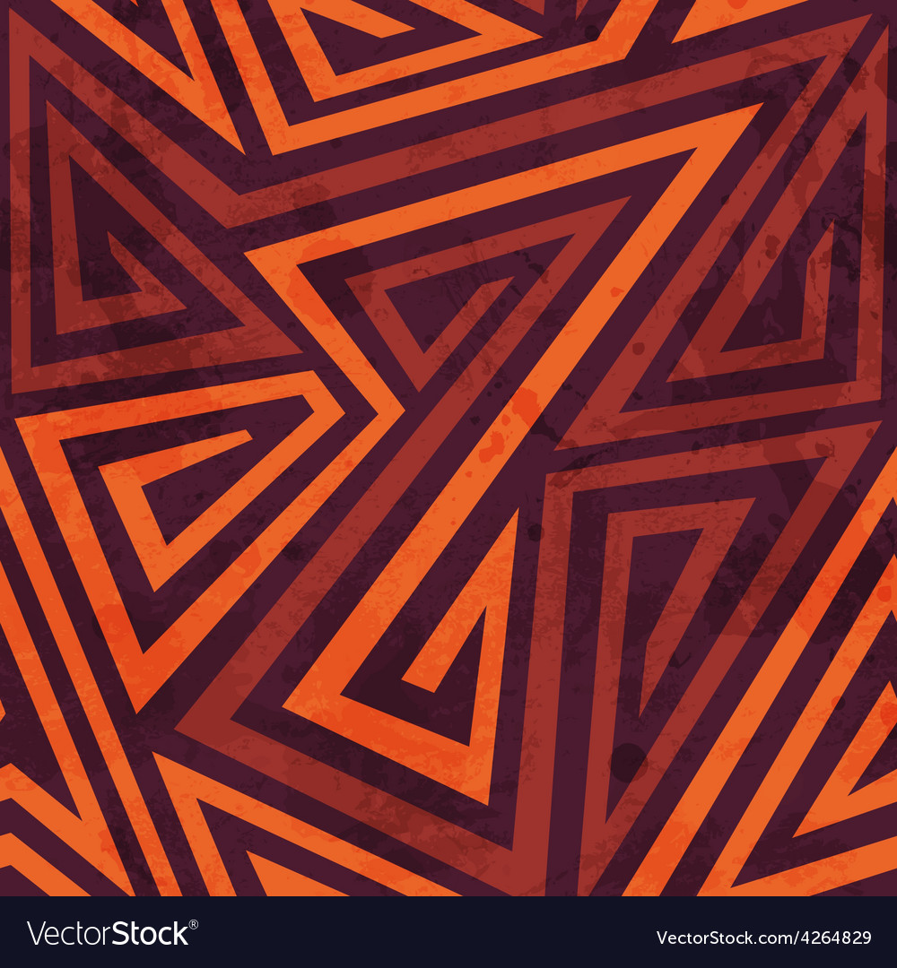 Warm color tribal seamless pattern with grunge vector | Price: 1 Credit (USD $1)