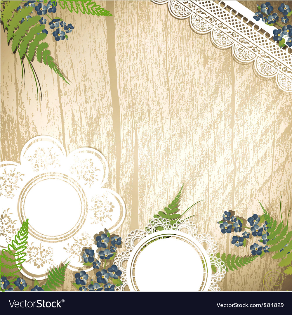 Wooden background with flowers vector | Price: 1 Credit (USD $1)