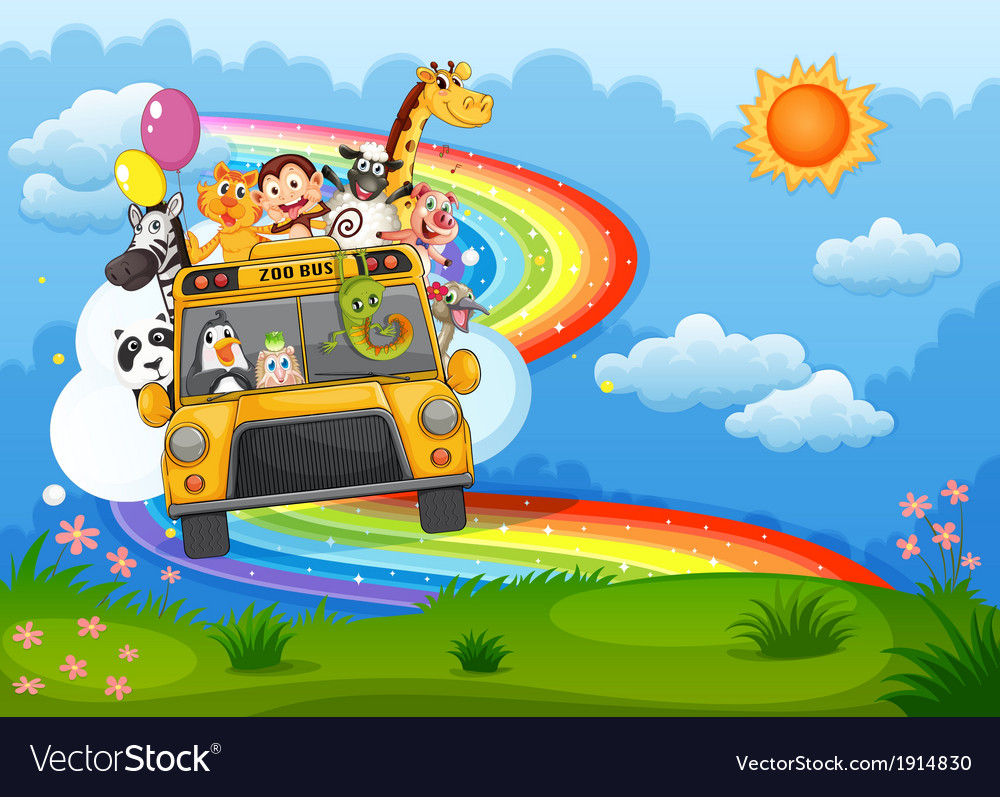 A zoo bus at the hilltop with a rainbow in the sky vector | Price: 3 Credit (USD $3)
