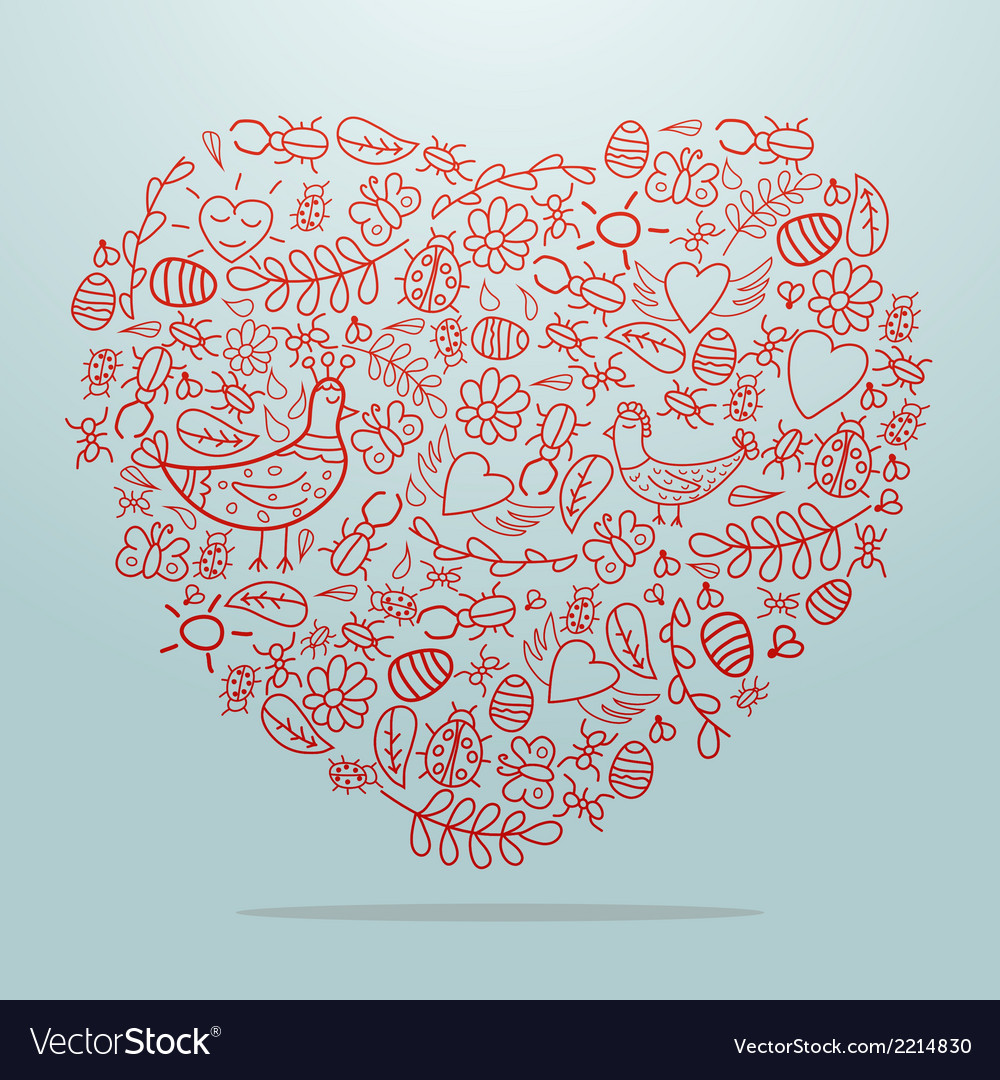 Big heart with decorative details on light vector | Price: 1 Credit (USD $1)