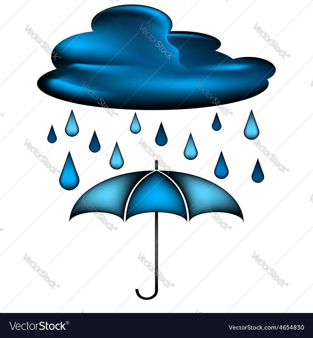 Cloud with rain water drops and blue umbrella vector | Price: 1 Credit (USD $1)