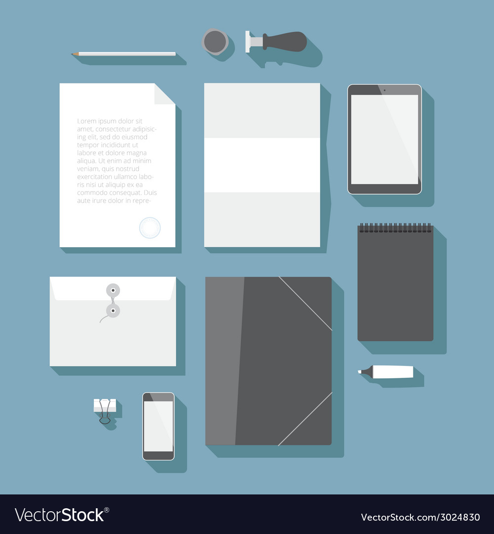 Flat design corporate identity mock-up template vector | Price: 1 Credit (USD $1)
