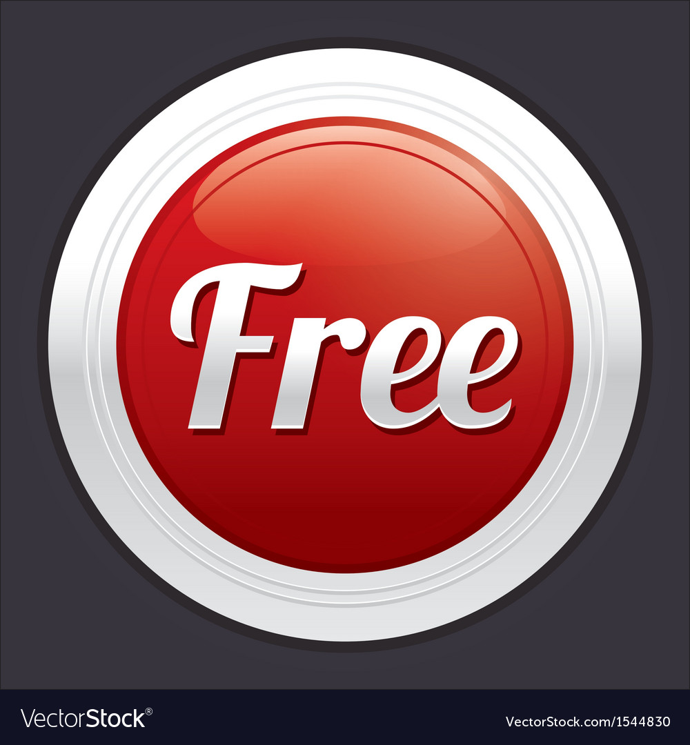 Free button red round sticker vector | Price: 1 Credit (USD $1)