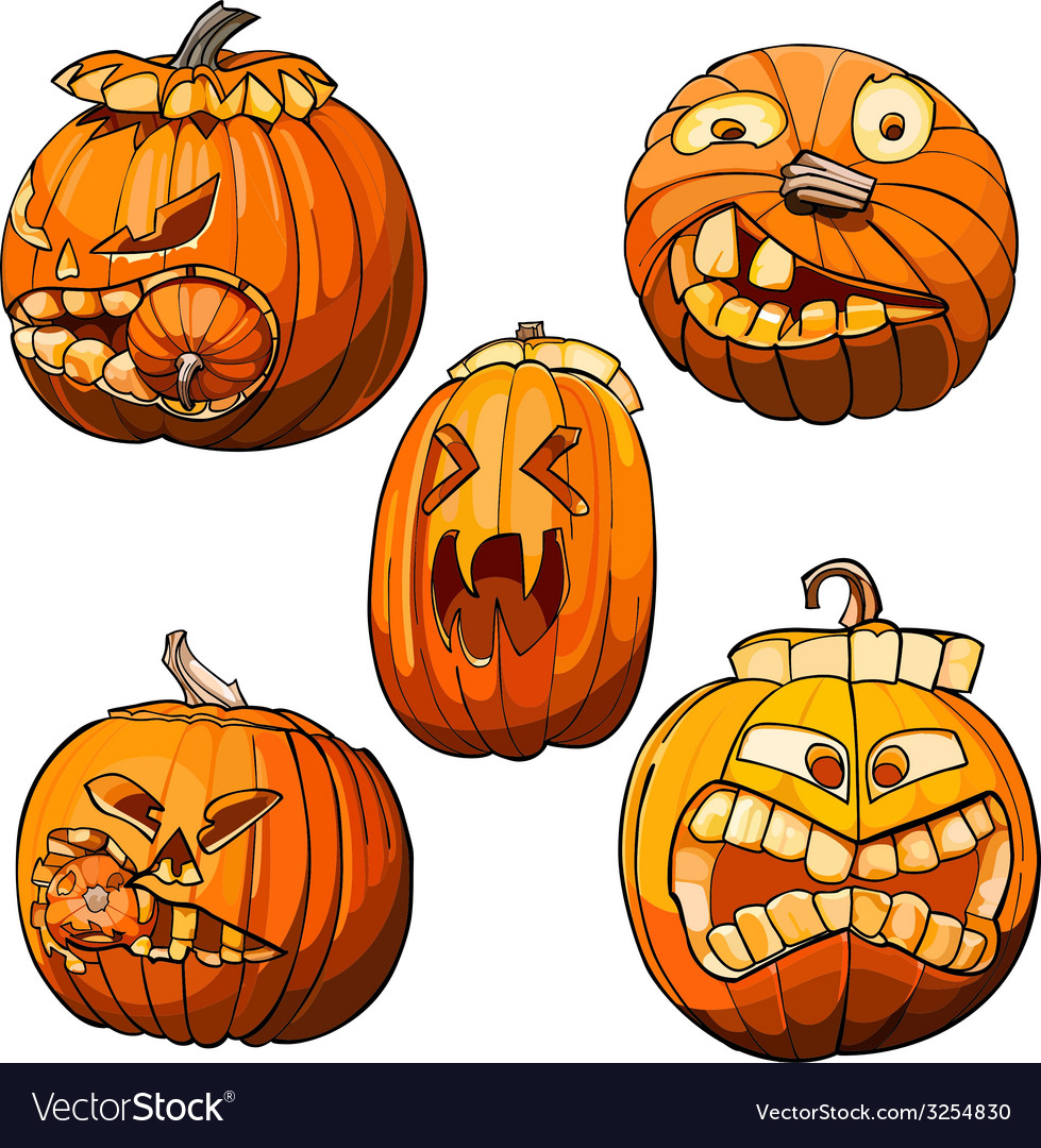Funny toothy pumpkins for halloween set vector | Price: 1 Credit (USD $1)