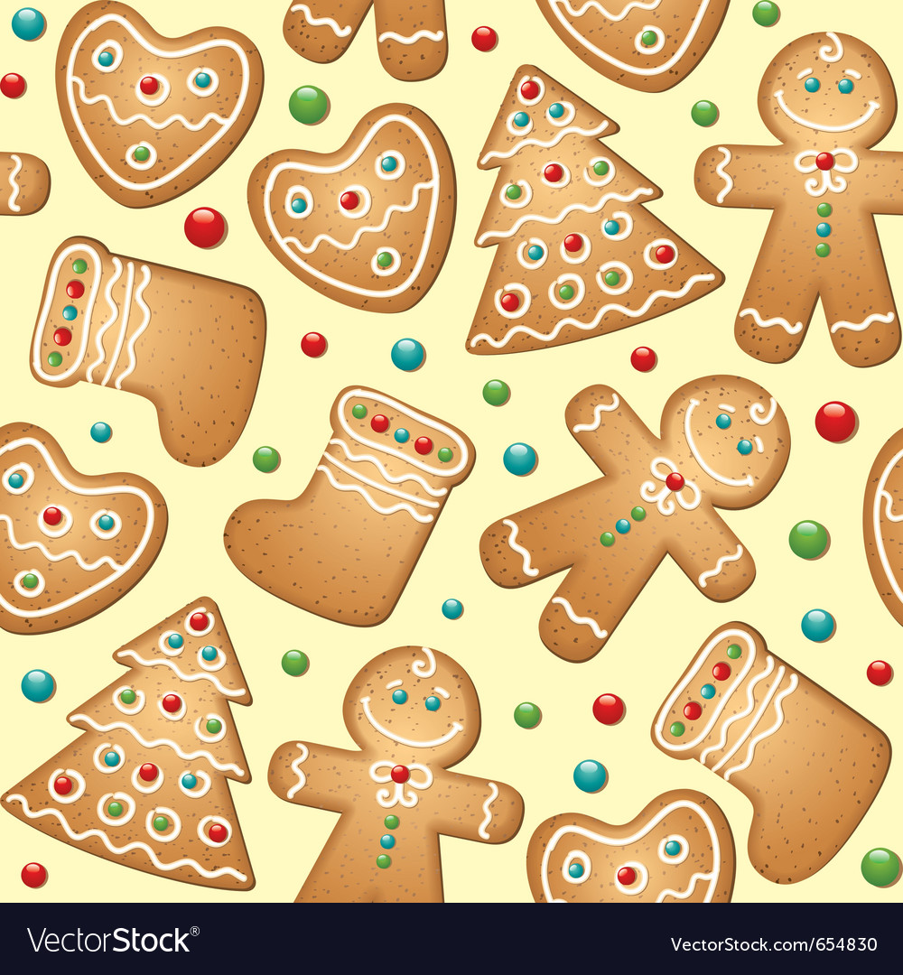 Gingerbread seamless pattern vector | Price: 1 Credit (USD $1)