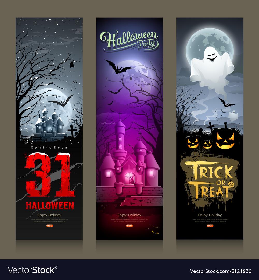Happy halloween collections banner vertical design vector | Price: 3 Credit (USD $3)