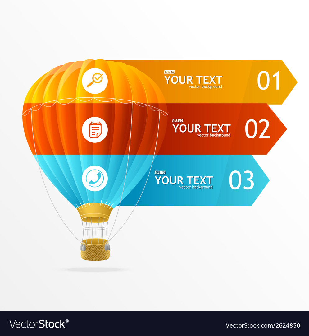 Hotair ballon infographics options banner vector | Price: 1 Credit (USD $1)