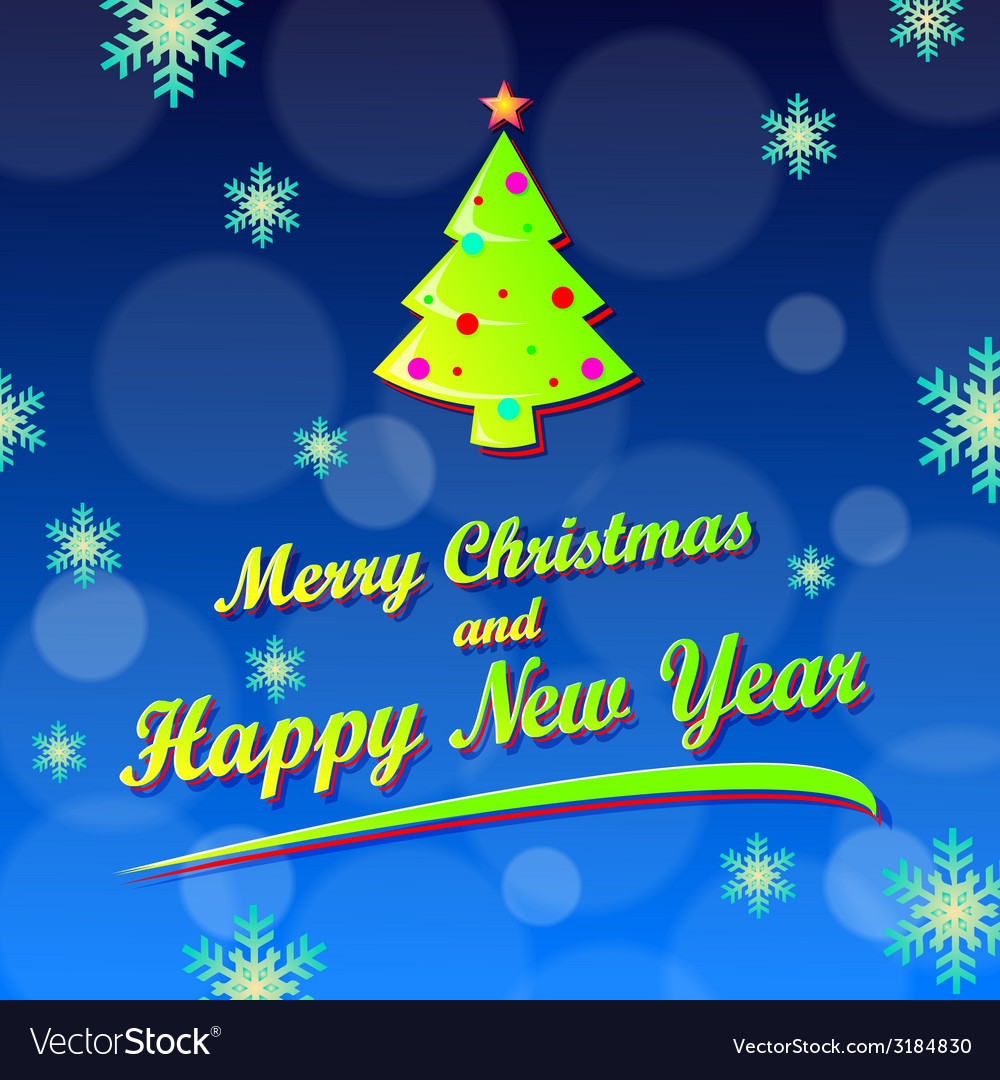Merry christmas and happy new year card vector | Price: 1 Credit (USD $1)