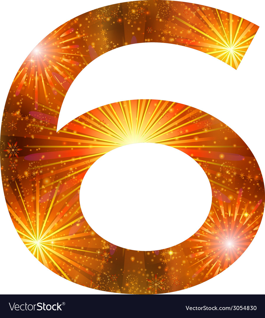 Number of orange firework six vector | Price: 1 Credit (USD $1)
