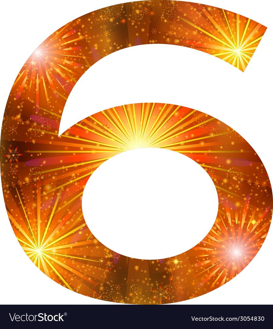Number of orange firework six vector | Price: 1 Credit (USD $1)