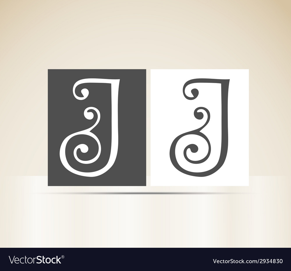 Retro alphabet letter j art deco vintage design vector | Price: 1 Credit (USD $1)