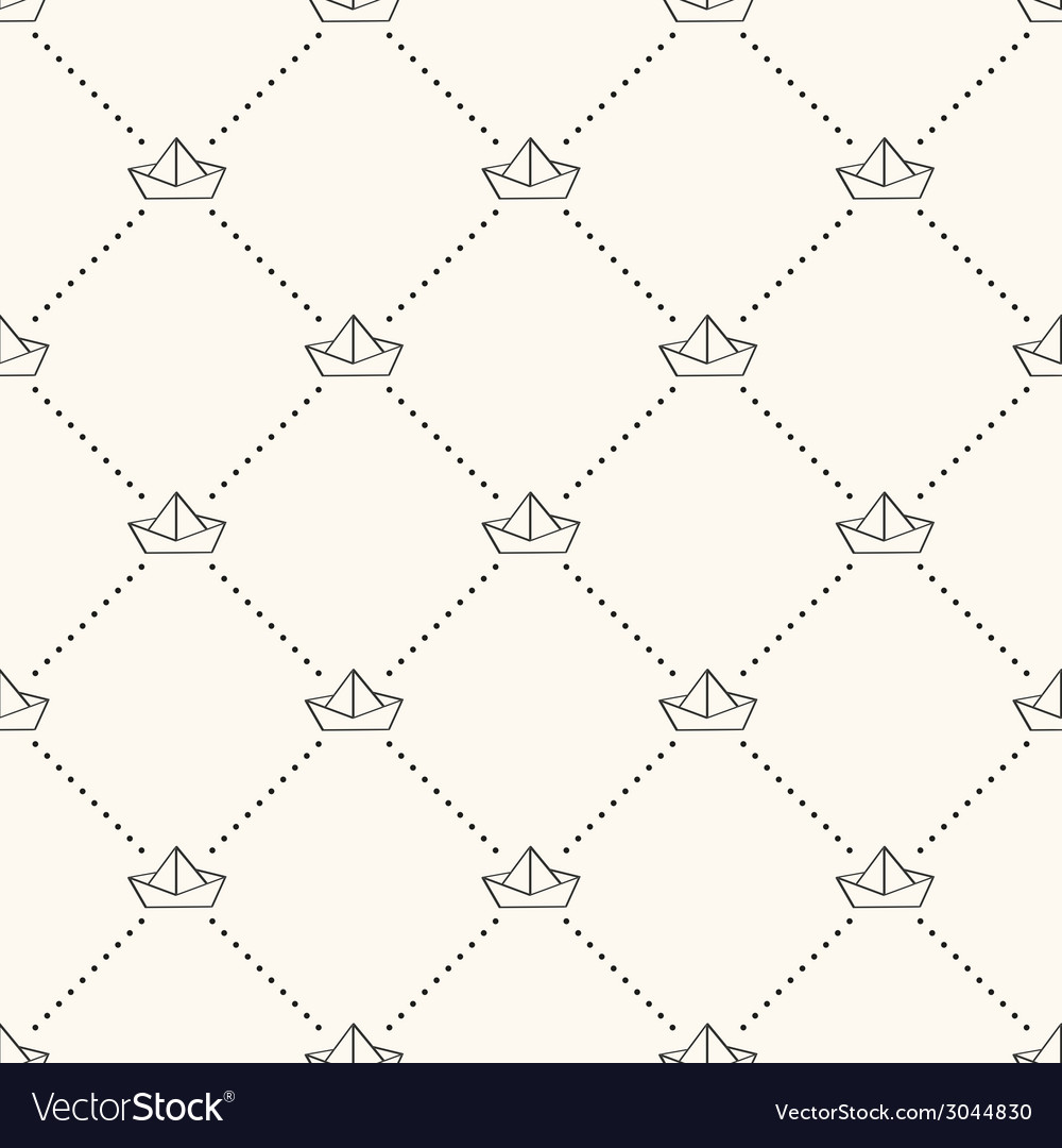 Seamless nautical retro pattern with paper boats vector | Price: 1 Credit (USD $1)