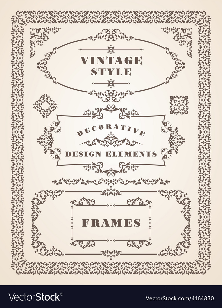 Set of retro vintage frames and borders vector | Price: 1 Credit (USD $1)