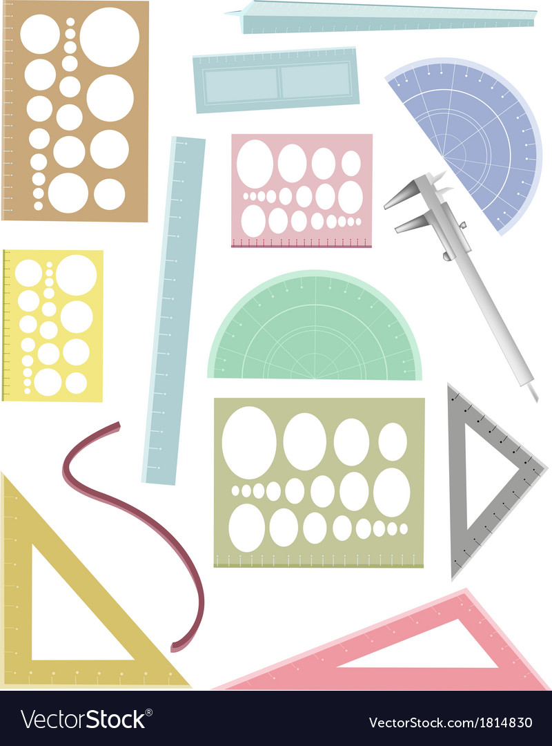 Set of rulers and a protractor vector | Price: 1 Credit (USD $1)