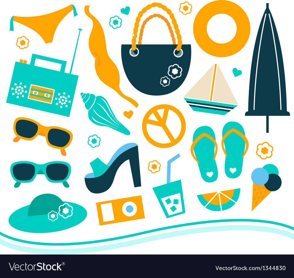 Summer design element set - orange and blue vector | Price: 1 Credit (USD $1)