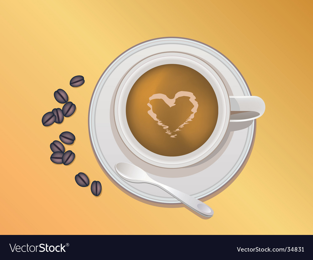 Coffee bean and coffee cup vector | Price: 1 Credit (USD $1)