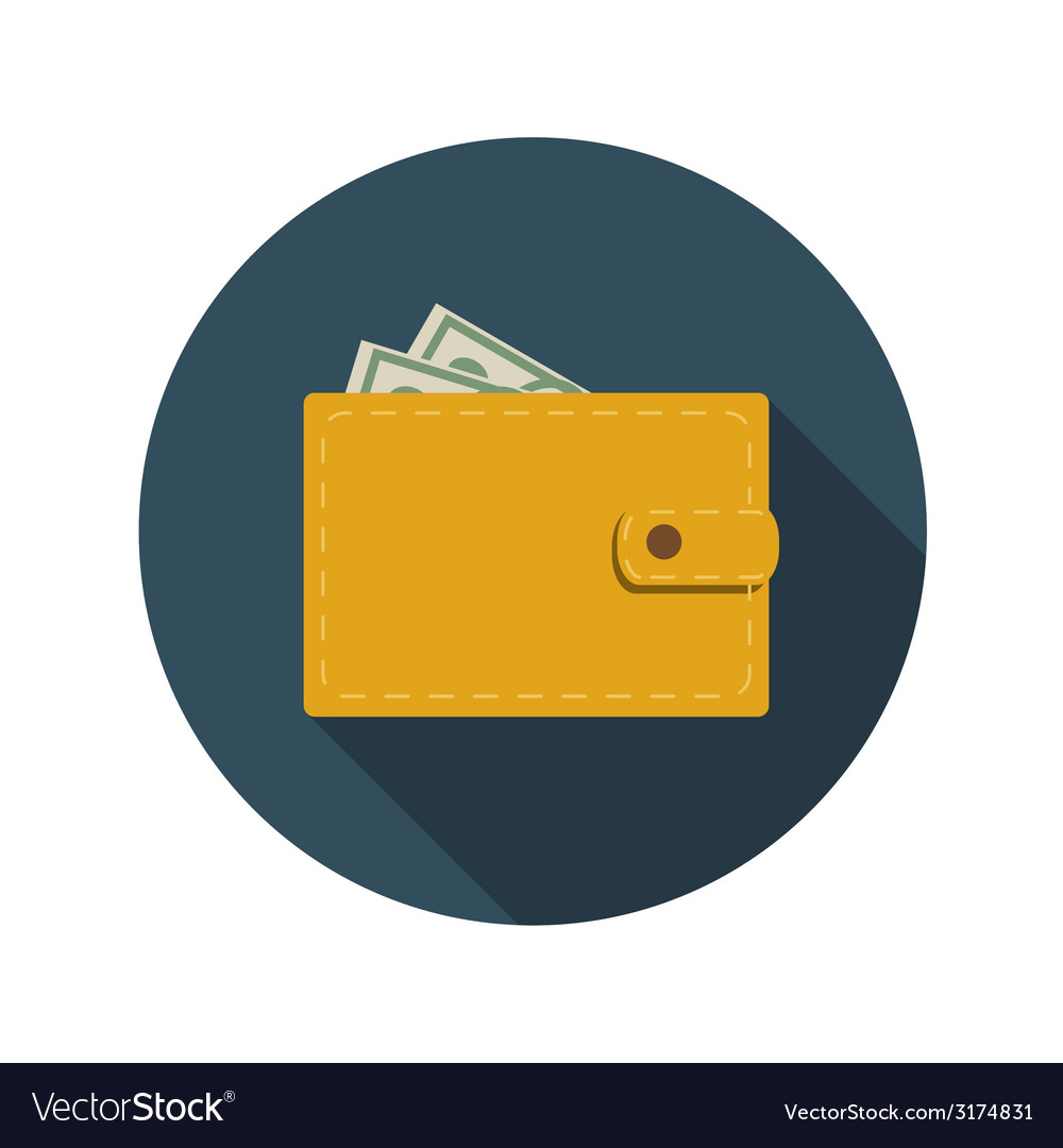 Flat design concept wallet with long shadow vector | Price: 1 Credit (USD $1)
