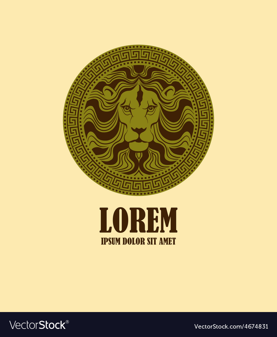 Lion head medallion logo design template vector | Price: 1 Credit (USD $1)
