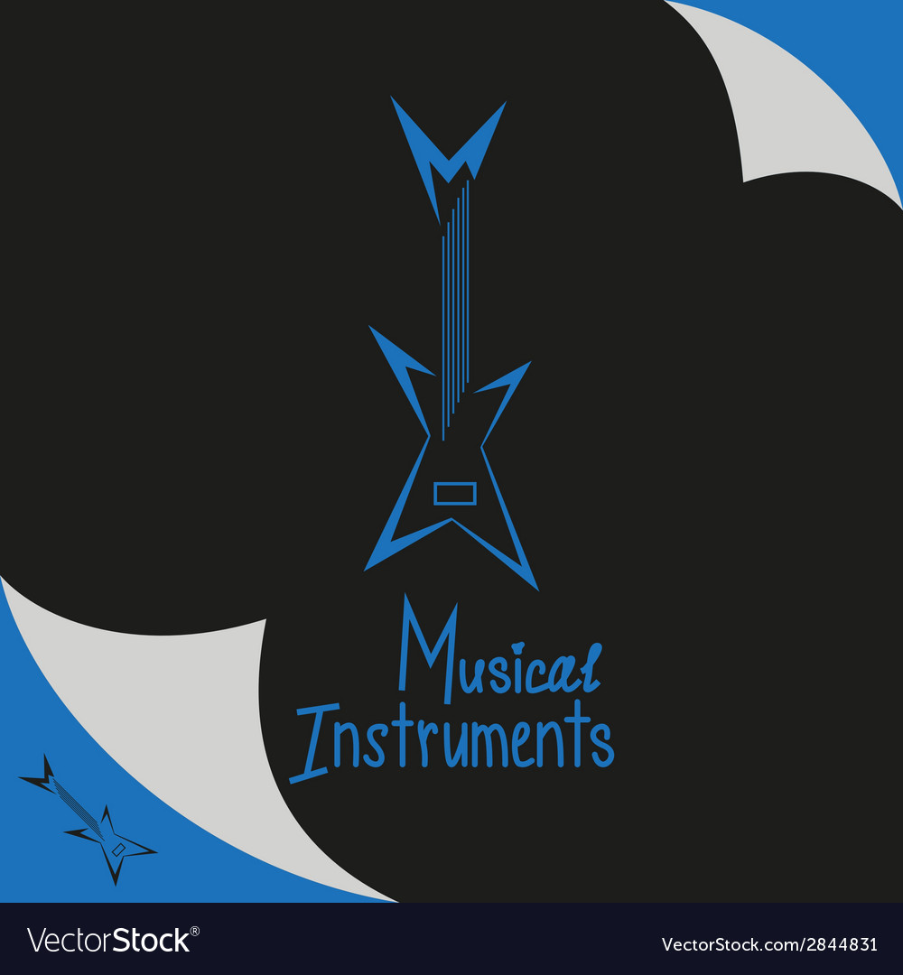 Musical instruments shop sign with guitar vector | Price: 1 Credit (USD $1)