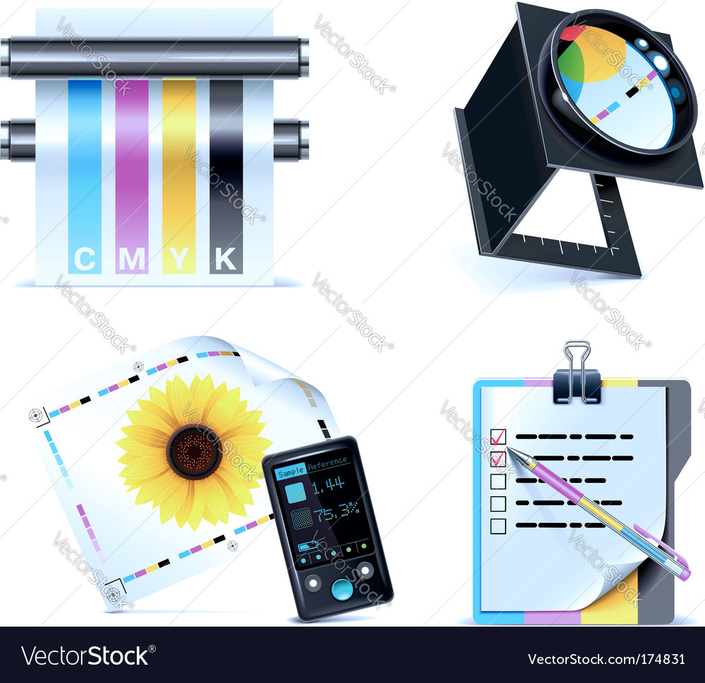 Print shop icon set vector | Price: 1 Credit (USD $1)