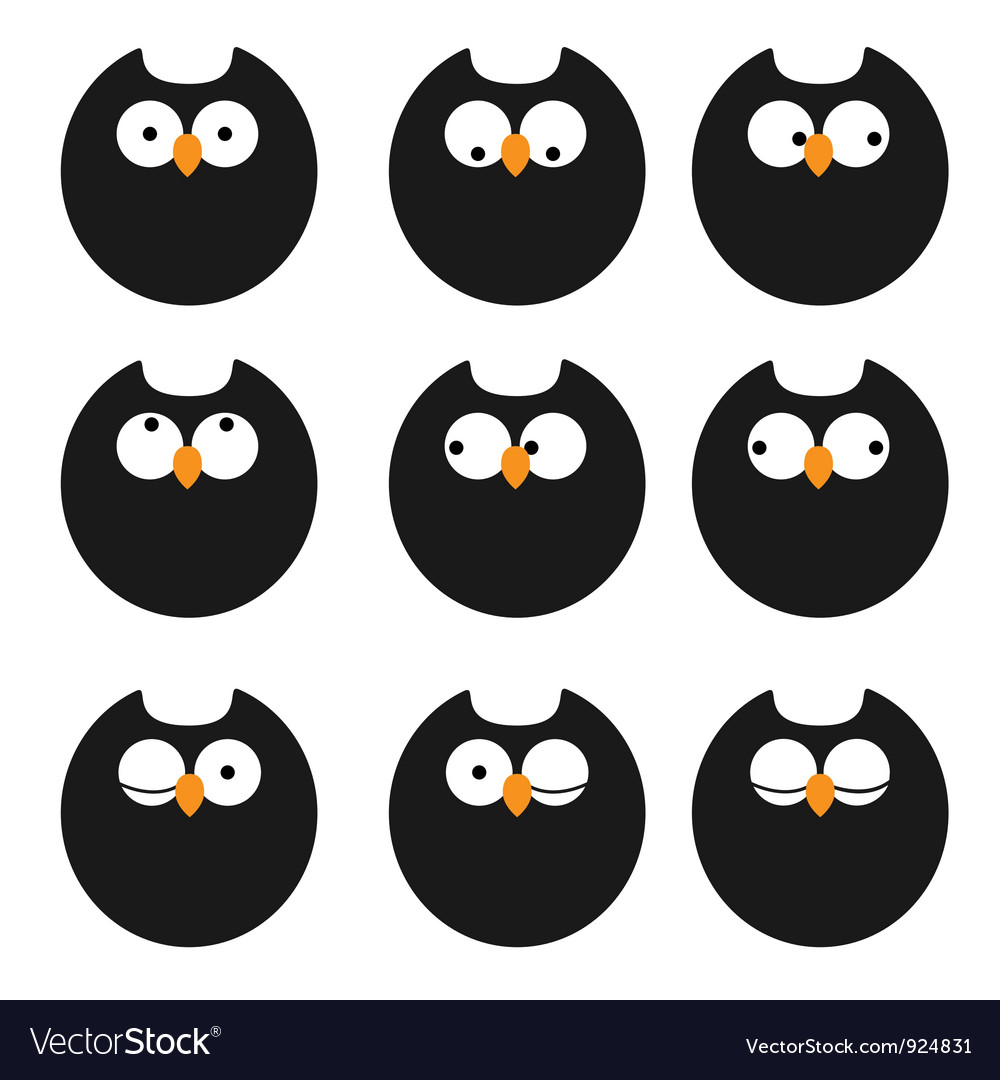Set of icons owls vector   Price: 1 Credit (USD $1)