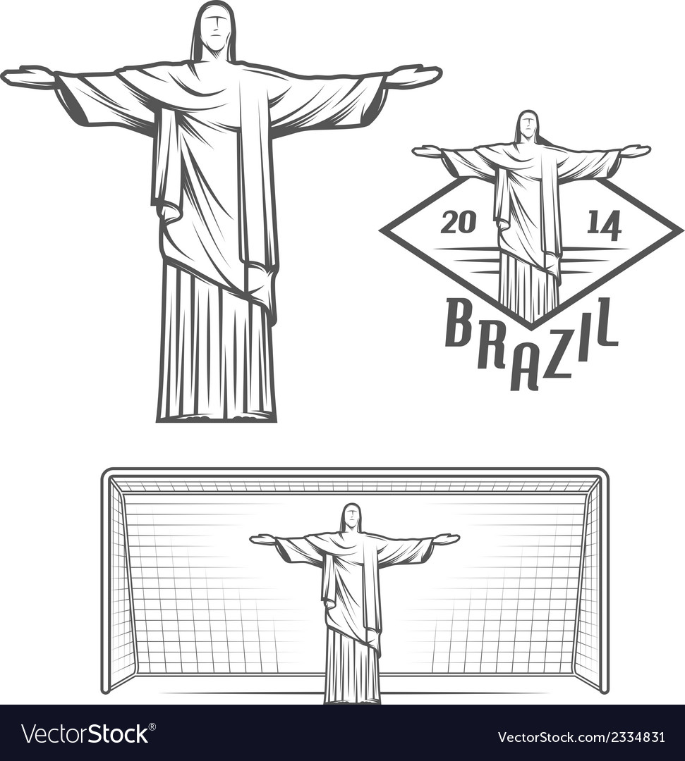 Statue of jesus christ and of rio de janeiro vector | Price: 1 Credit (USD $1)