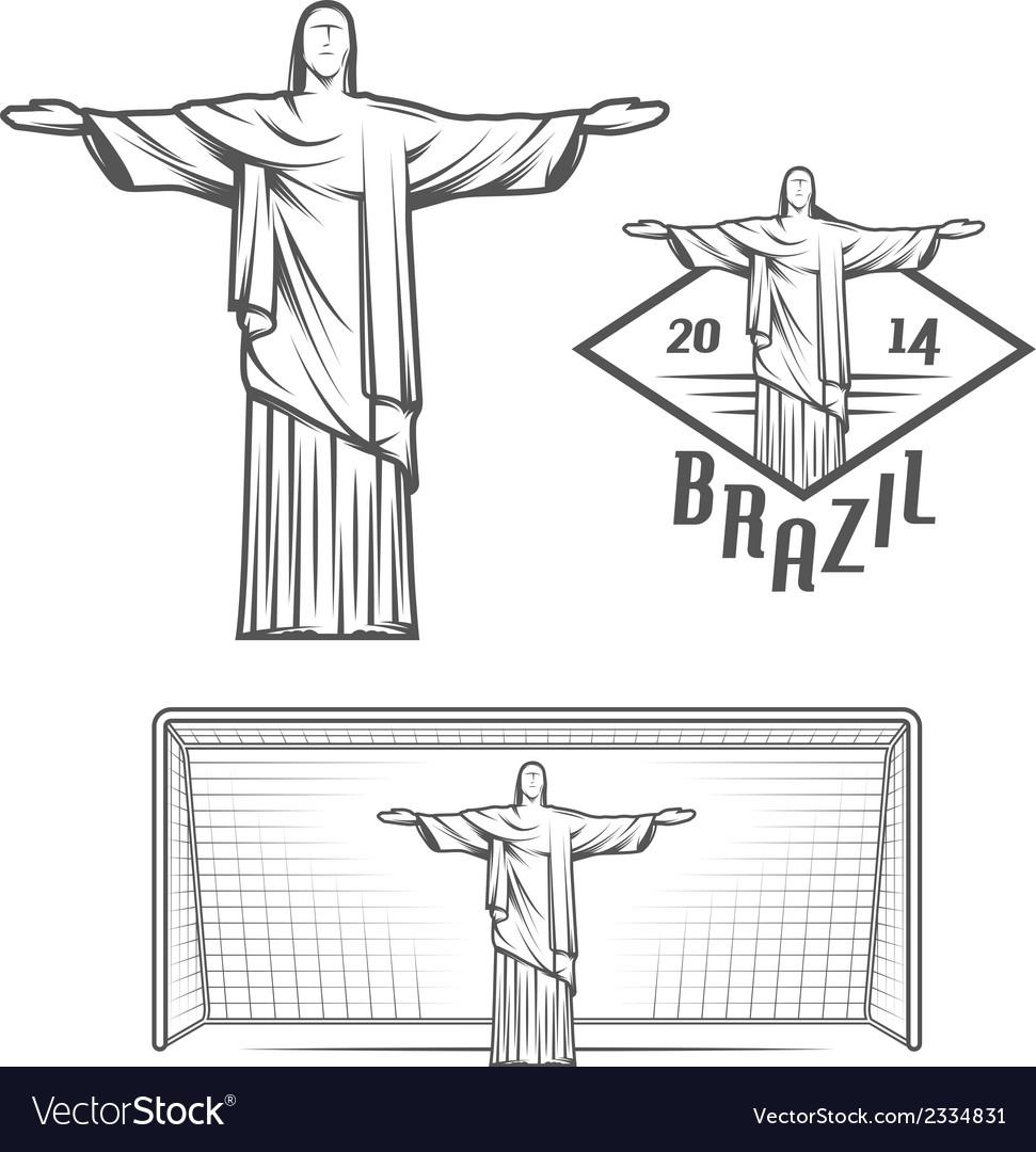 Statue of jesus christ and of rio de janeiro vector | Price: 1 Credit (USD $1)