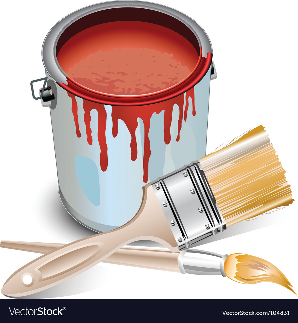 Tin with paint and brushes vector | Price: 1 Credit (USD $1)