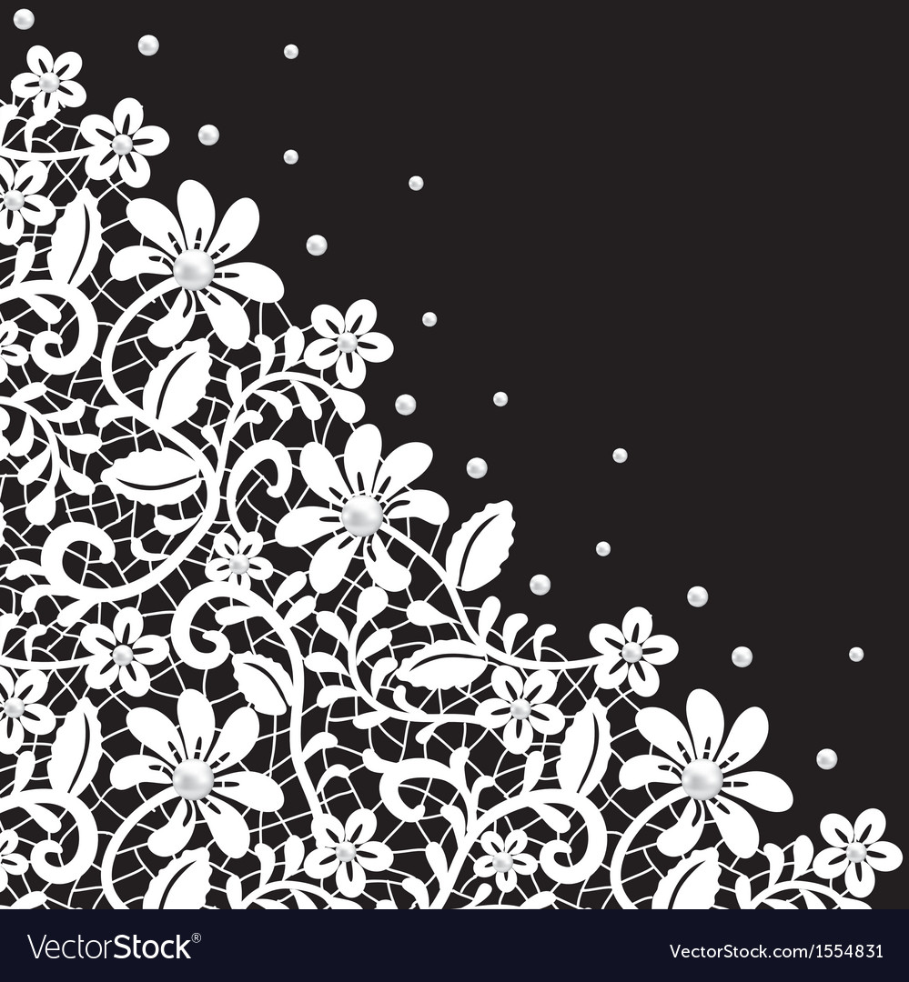 White guipure border with pearls on black vector | Price: 1 Credit (USD $1)