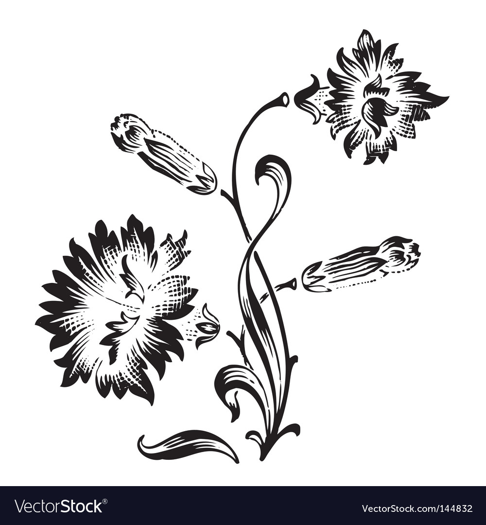 Antique flower ornament engraving vector | Price: 1 Credit (USD $1)