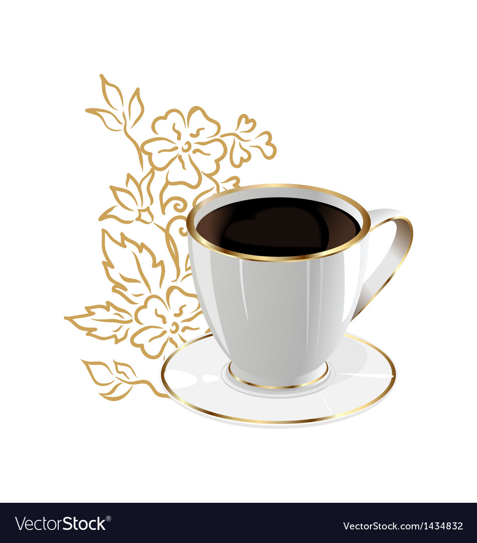 Cup of coffee isolated with floral design elements vector | Price: 1 Credit (USD $1)