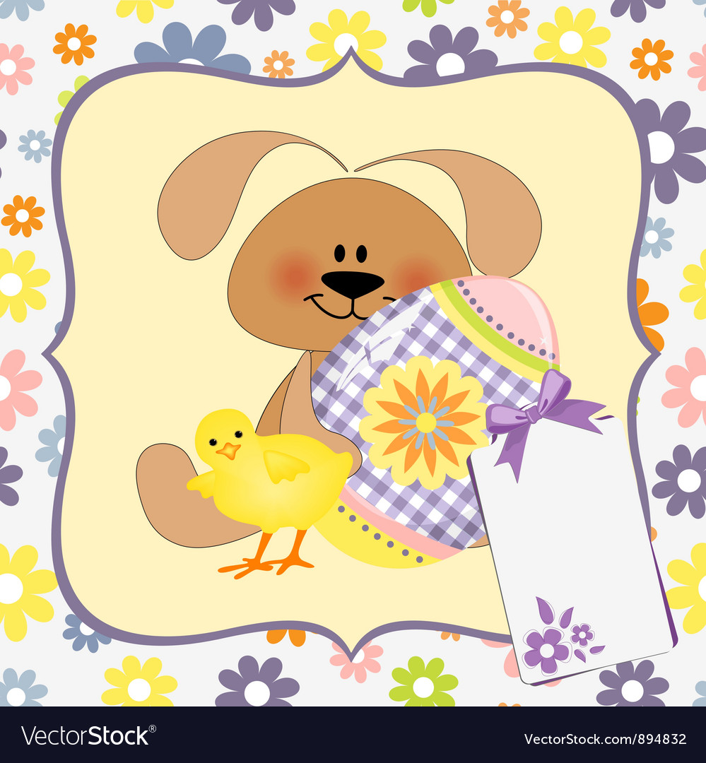 Cute template for easter greetings card vector | Price: 1 Credit (USD $1)