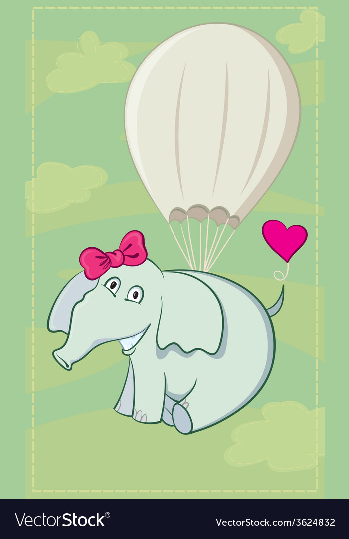 Elephant parachutist vector | Price: 1 Credit (USD $1)