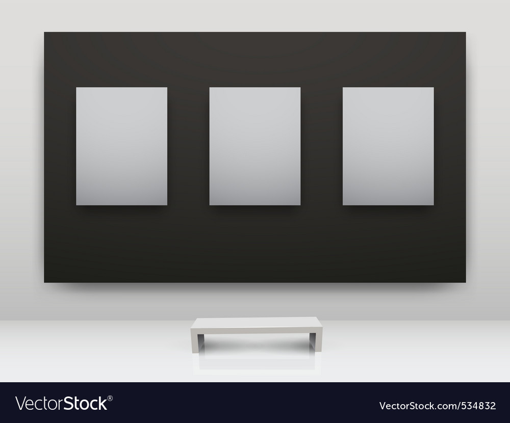 Gallery interior empty frames vector | Price: 1 Credit (USD $1)