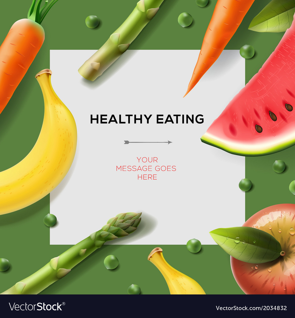 Healthy eating template with fruits and vegetables vector | Price: 1 Credit (USD $1)