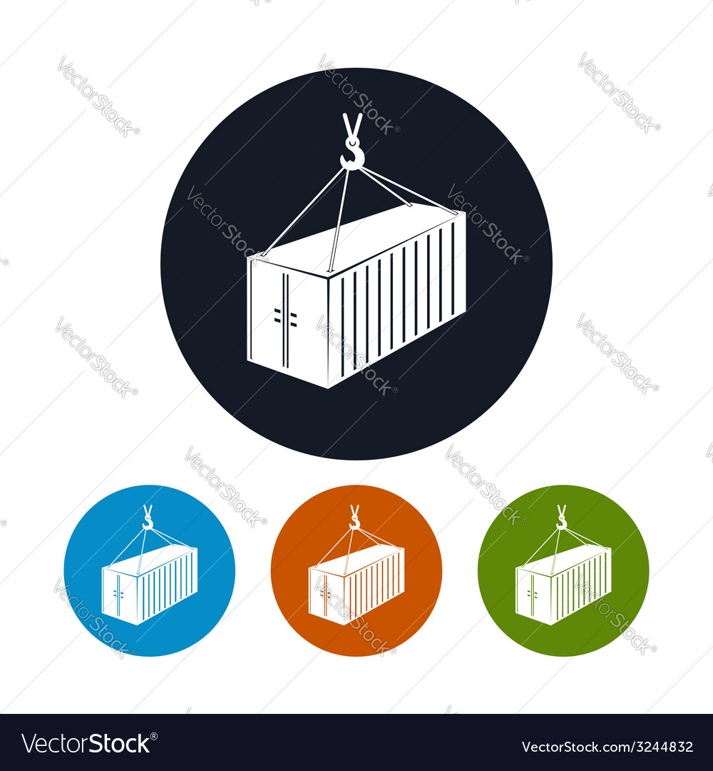 Icon container with crane vector | Price: 1 Credit (USD $1)