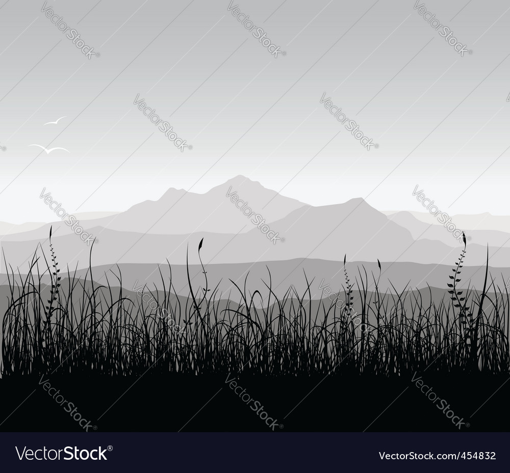 Landscape with grass and mount vector | Price: 1 Credit (USD $1)