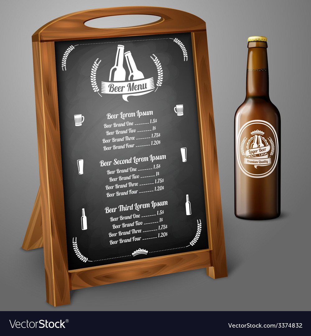 Menu template on chalkboard - for beer and alcohol vector | Price: 3 Credit (USD $3)