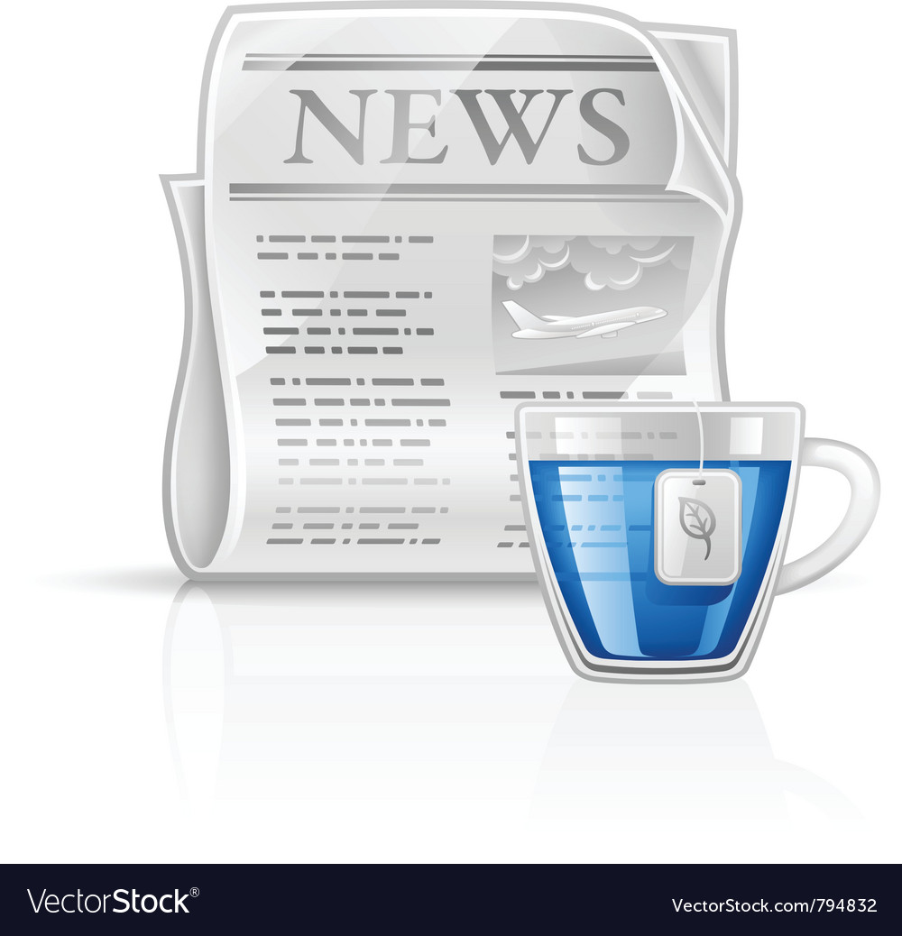 Newspaper with cup of tea vector | Price: 1 Credit (USD $1)