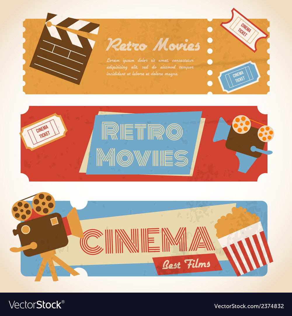 Retro movie banners vector | Price: 1 Credit (USD $1)