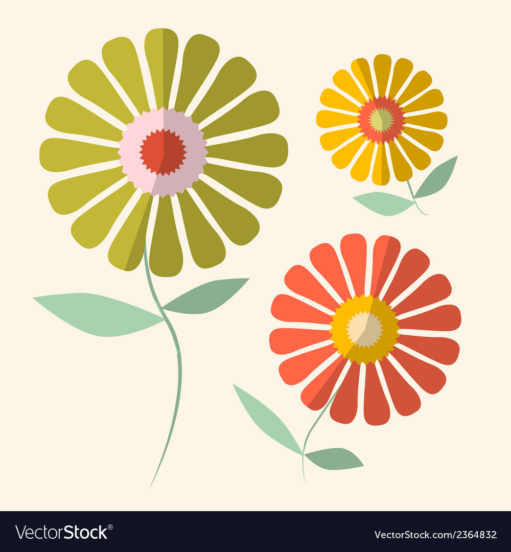Retro of gerbera flowers vector | Price: 1 Credit (USD $1)