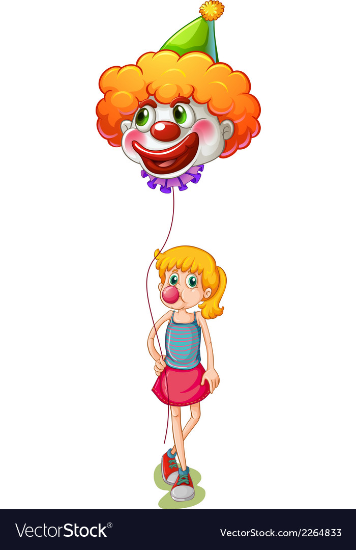 A tall girl holding a clown balloon vector | Price: 1 Credit (USD $1)