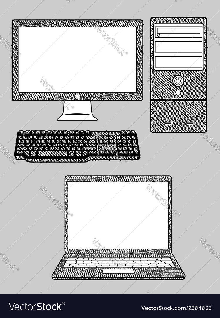 Computer and laptop vector | Price: 1 Credit (USD $1)