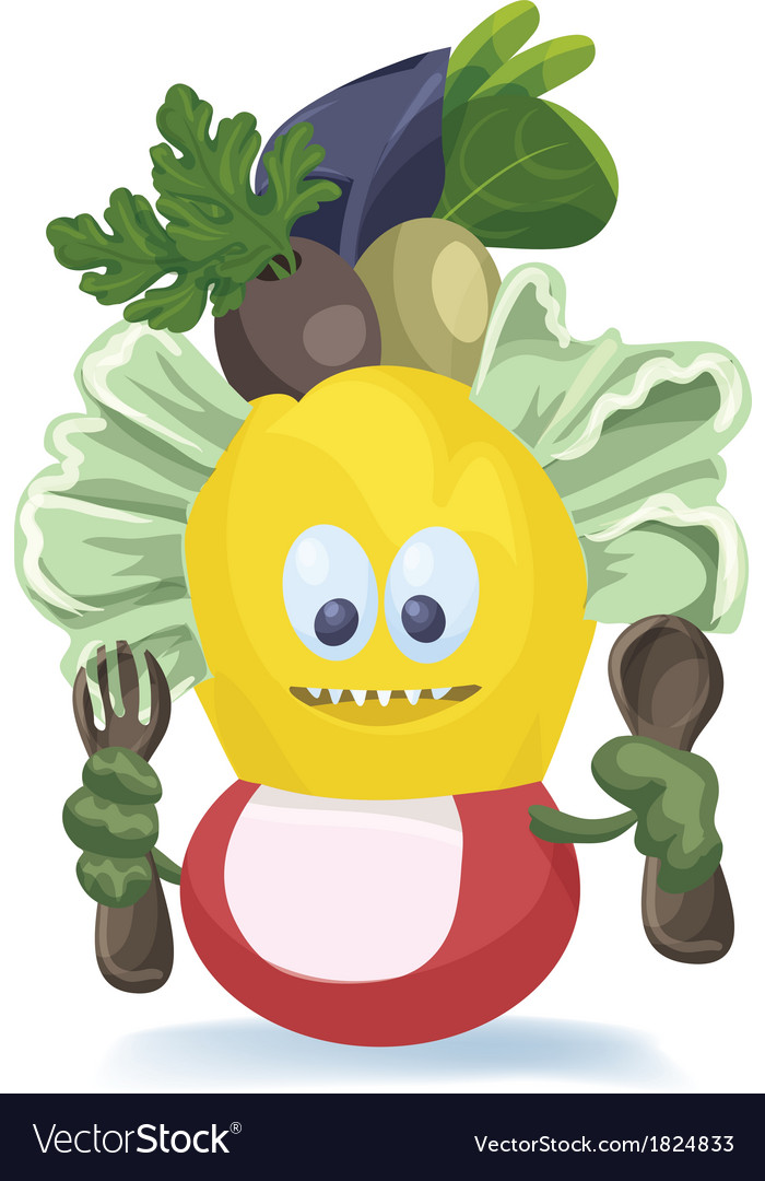 Cute salad monster characters creation vector | Price: 1 Credit (USD $1)