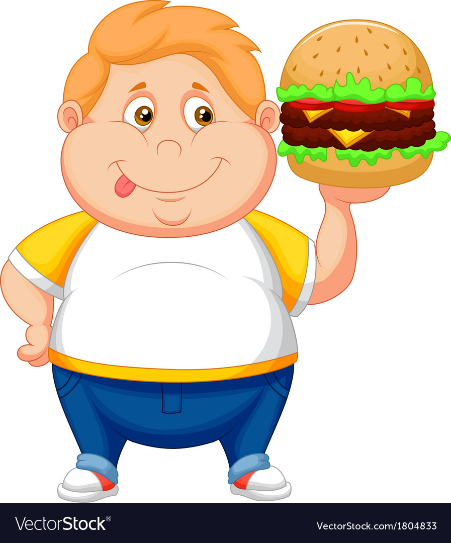 Fat boy cartoon smiling and ready to eat a big ham vector | Price: 1 Credit (USD $1)