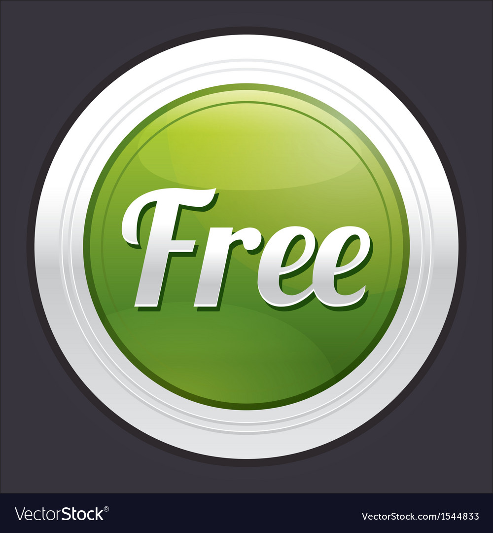 Free button green round sticker vector | Price: 1 Credit (USD $1)