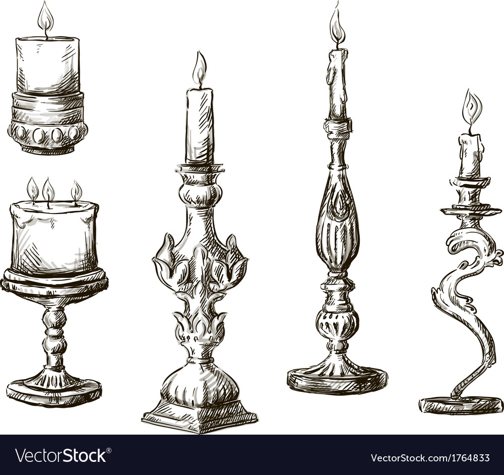 Hand drawn candles retro candlesticks vector | Price: 1 Credit (USD $1)