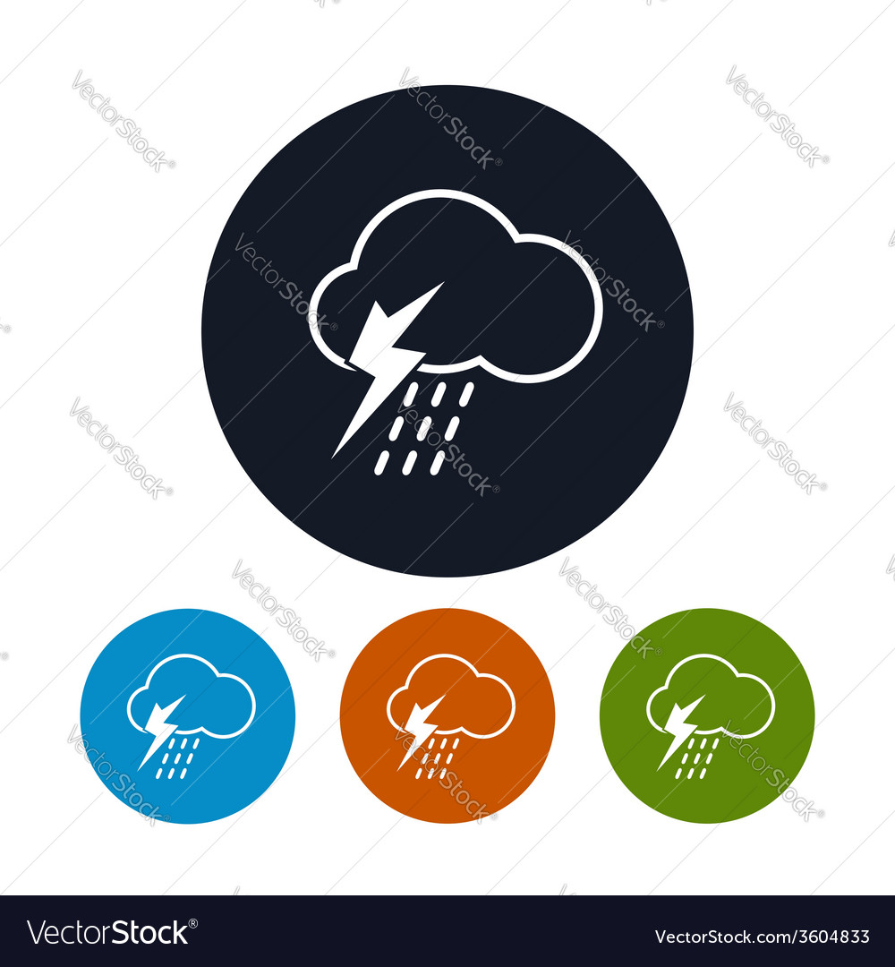 Icon cloud with thunderstorm vector | Price: 1 Credit (USD $1)