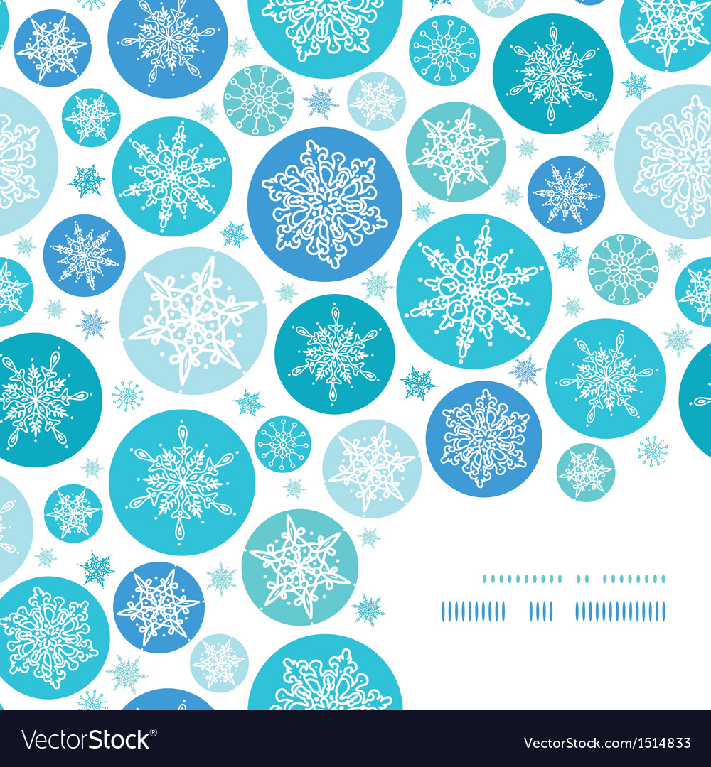 Round snowflakes corner frame pattern background vector | Price: 1 Credit (USD $1)